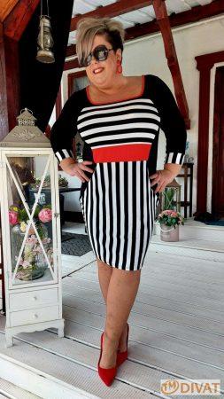 Fashion by NONO - Anett fekete-fehér-piros csíkos extrán karcsúsító hatású ruha