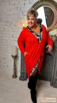 Fashion by NONO - Kinga piros mintával díszített tunika-ruha 3.