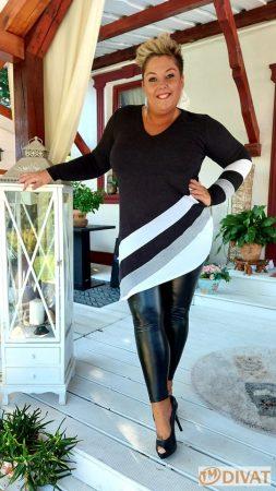 Fashion by NONO - Vizuál fekete-szürke-fehér tunika