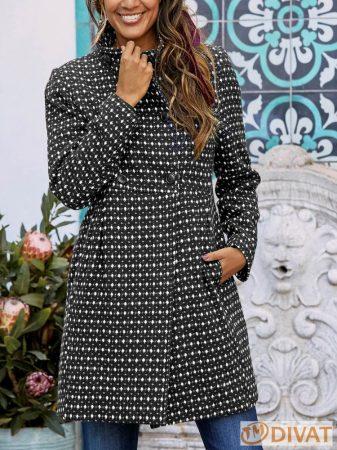 Eredeti Cellba prémium minőségű fekete-fehér dupla gombolású midi kabát gyapjúval
