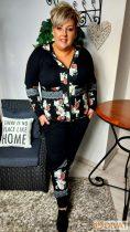 Fashion by NONO-Tracy fekete-virágmintás cipzáras jogging felső