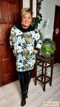 Fashion by NONO - Gyönyörű mintás kámzsa nyakú zsebes tunika