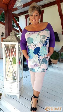 Fashion by NONO - Eszter tunika lila-mintás anyaggal