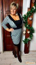 Fashion by NONO- Nory fekete-fehér kockás midi ruha 2.