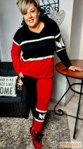 Fashion by NONO-Lady Gaga piros-fekete-fehér jogging felső