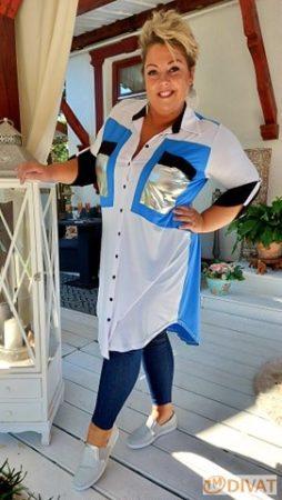 Fashion by NONO - Nina fehér-világoskék hosszított ing