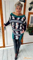 Fashion by NONO - Dioro fekete-smaragd-virágmintás tunika-ruha neccbetéttel díszítve