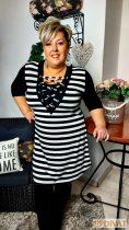 Fashion by NONO- Fekete-fehér csíkos fűzős tunika-ruha