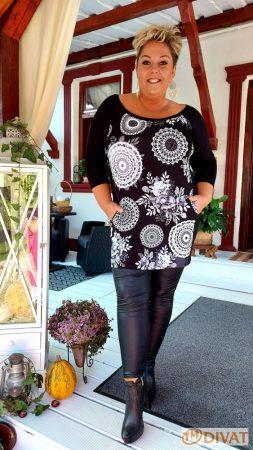 Fashion by NONO  - Mandala mintás fekete-fehér tunika
