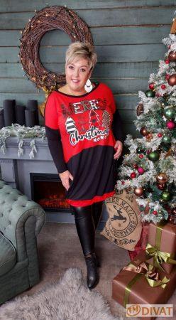 Fashion by NONO -  Piros-fekete, Merry Christmas feliratú tunika-ruha