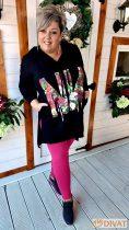 Fashion by NONO - Anula fekete-virágmintás tunika 2.