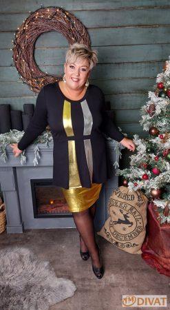 Fashion by NONO - Katy fekete tunika arany és ezüst csíkkal díszítve