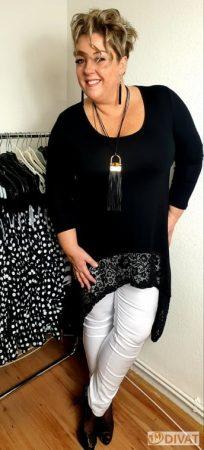 Fashion by NONO - Fekete pamut csipkével díszített tunika