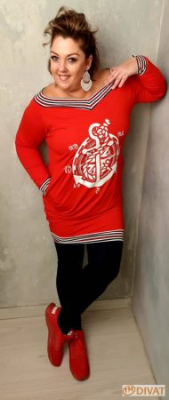 Fashion by NONO - Piros matróz mintás zsebes tunika