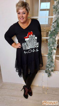 Fashion by NONO - Fekete tüllel díszített Merry Christmas feliratú tunika-ruha