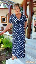 Fashion by NONO  - Sötétkék-fehér pöttyös maxi ruha - Ennél a ruhánál a várható kiszállítás 05.19.