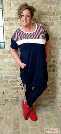 Fashion by NONO - Pamut méret nélküli tunika-ruha szuper szín-összeállításban 3.