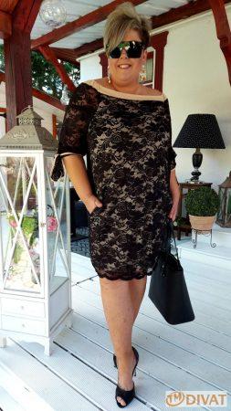 Fashion by NONO - Lace fekete-bézs csipkés ruha