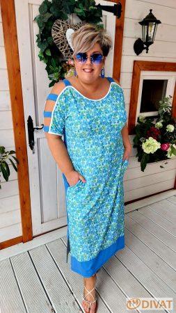 Fashion by NONO - Mia kék virágmintás ruha
