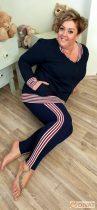Fashion by NONO - Sötétkék trendi csíkokkal díszített pamut leggings