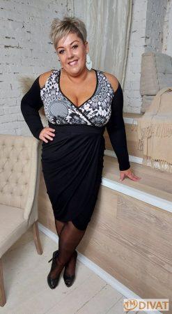 Fashion by NONO - Fekete-púder csipkemintás vállnál vágott szexi rafinált fazonú ruha