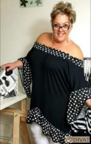 Fashion by NONO - Tölcsér ujjú pamut fekete-fehér pöttyös tunika-ruha