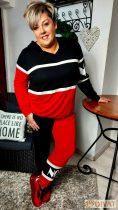 Fashion by NONO-Lady Gaga piros-fekete-fehér jogging alsó