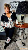 Fashion by NONO-Tracy fekete-fehér gyönyörű vintage mintás cipzáras jogging felső