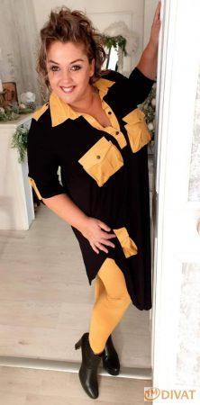 Fashion by NONO   Bőr hatású nadrág mustár