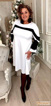 """Fashion by NONO  Tölcsér ujjú """"A"""" vonalú ruha fehér színben"""