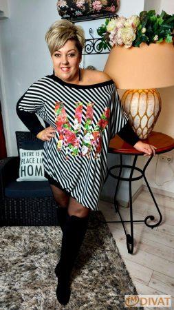 Fashion by NONO - Fekete-fehér csíkos és virágmintás tunika