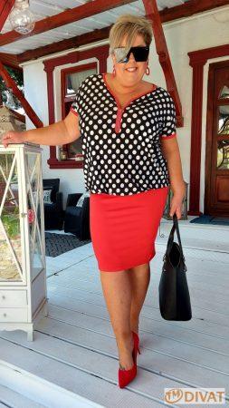 Fashion by NONO - Isabelle fekete-fehér pöttyös piros pamut-viszkóz ruha