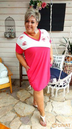 Fashion by NONO - Pamut méret nélküli tunika-ruha szuper szín-összeállításban 1.