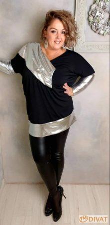 Fashion by NONO - Fekete-ezüst denevérujjú tunika