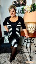 Fashion by NONO - Boróka fekete-fehér csíkos extrán karcsúsító hatású ruha