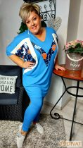 Fashion by NONO - Világoskék pamut hosszú sztreccs leggings