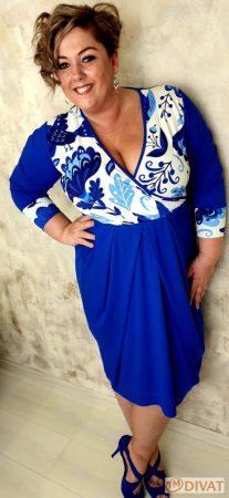 Fashion by NONOgyönyörű királykék-fehér midi pamut ruha