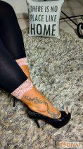 Fashion by NONO 3/4-es fekete-púder csipkés aljú pamut sztreccs leggings