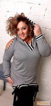 Fashion by NONO - Kapucnis vállnál vágott szürke trendi felső