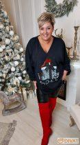 Fashion by NONO - Fekete alapon, egyedi karácsonyi mintás méret nélküli felső