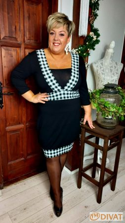 Fashion by NONO- Nory fekete-fehér kockás midi ruha
