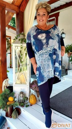 Fashion by NONO - Sötétkék vastagabb pamut hosszú leggings