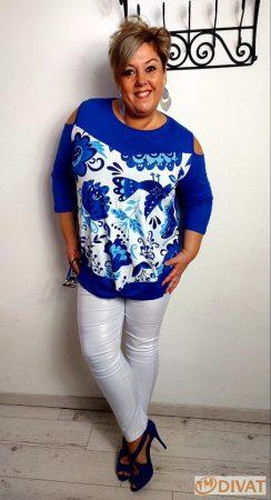 Fashion by NONO - Elöl csavart, vállnál vágott gyönyörű mintás viscose tunika 3.
