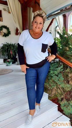 Fashion by NONO - Farmerhatású, szuper jól összetartó sötétkék leggings