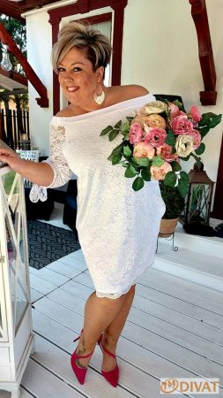 Fashion by NONO - Lace fehér csipkés ruha