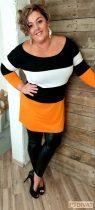 Fashion by NONO -  Pamut trendi tunika fekete-fehér-narancs