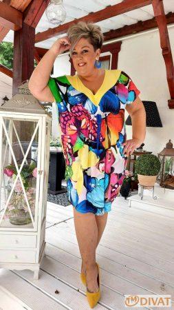 Fashion by NONO - Mell alatt kötős, pillangó mintás tunika-ruha 3.