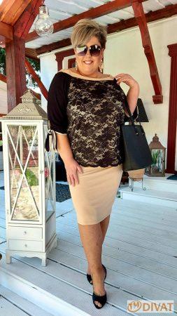Fashion by NONO - Lace fekete-bézs csipkés tunika