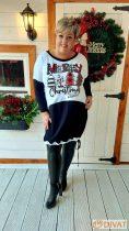 Fashion by NONO - Fekete-fehér, Merry Christmas feliratú tunika-ruha