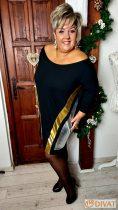 Fashion by NONO - Tiara fekete denevér fazonú tunika-ruha, arany és ezüst csíkkal díszítve